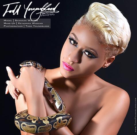 Model & snake photo shoot